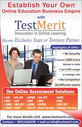 Partners invited for selling Online test series different comp. exams.